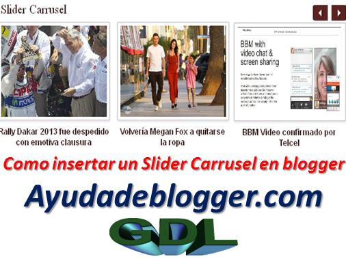 Como insertar un Slider Carrusel en Blogger