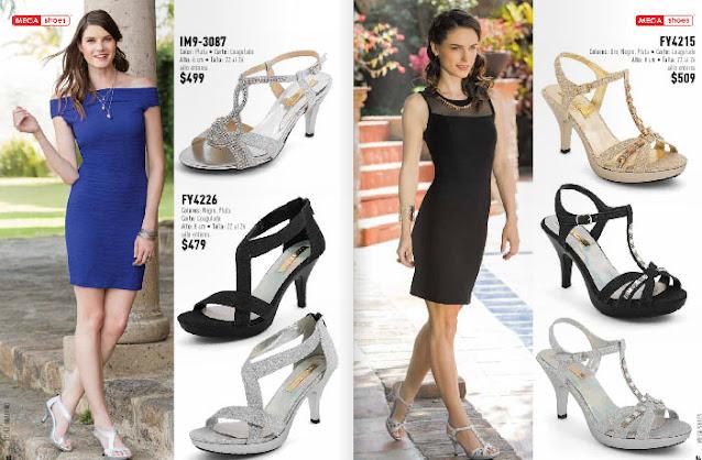 zapatos plateados con vestidos azul