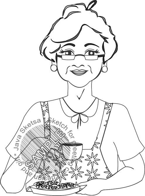 Grandma, Coffee and Her Snack