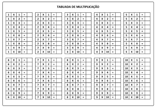 Tabuada de Multiplicação do 1 ao 10 para imprimir e completar