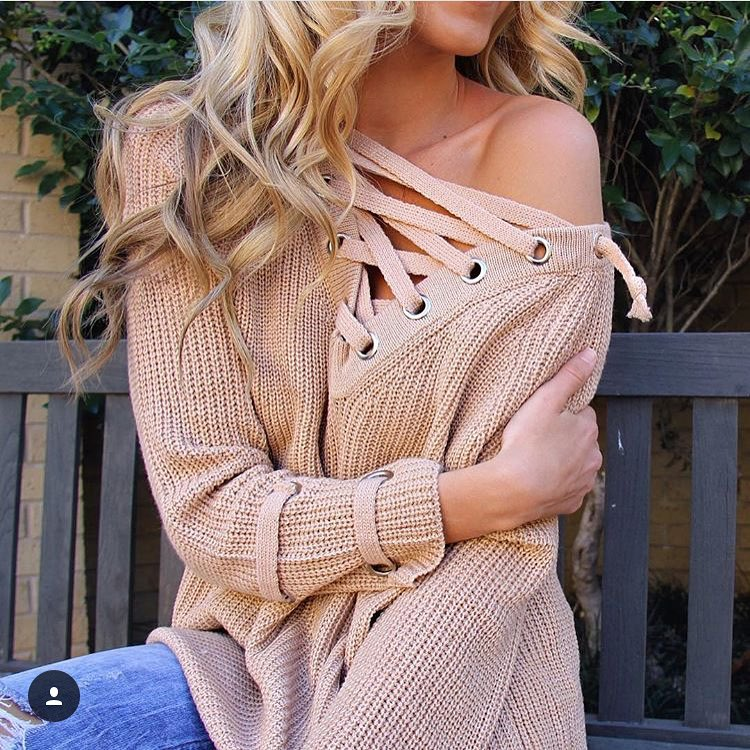 Pearl and Monroe Lace up Sweater