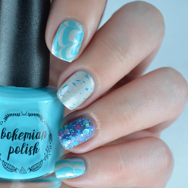 blue and cream water marble