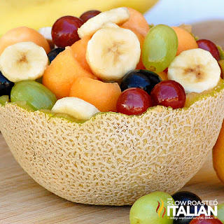 Cantaloupe Fruit Bowl The center of the fruit contains many seeds. cantaloupe fruit bowl