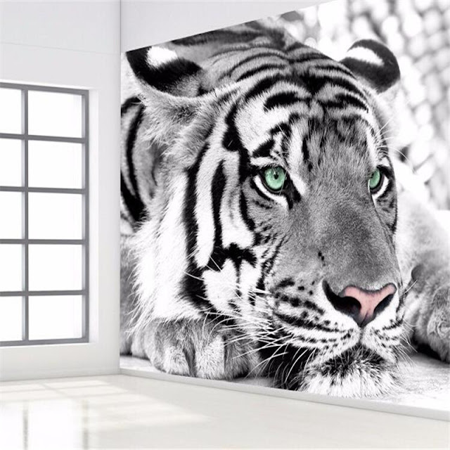 Mural wallpaper for home Tiger photo wallpaper black and white animal murals bedroom living room bedrooms