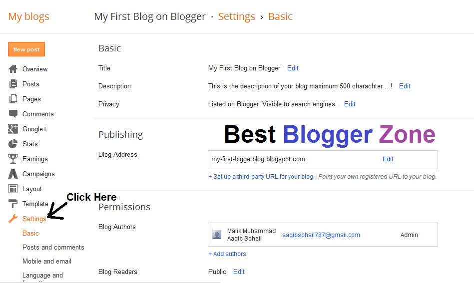 Blogger Special Setting , Blogger SEO Free Blogger setting