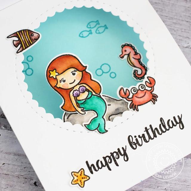 Sunny Studio Stamps: Oceans Of Joy Magical Mermaids Summer Themed Birthday Shadow Box Card by Lexa Levana