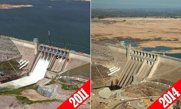 California drought is easy to see in Folsom lake between 2011 and 2014