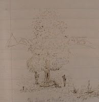 A sketch of three men under a tree.