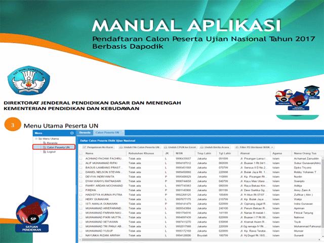 Manual Aplikasi Pendaptaran Calon Peserta Ujian Nasional Berbasis Dapodik Tahun Ajaran 2016/2017