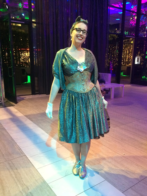 Gail Carriger Wears a Vintage Silver Cocktail Dress with Dark Garden Waspie Corset for WorldCon 2018 in San Jose