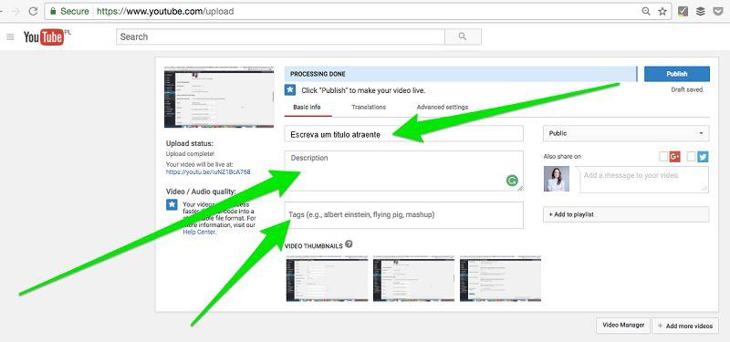 Seu Canal do Youtube - Descrições, Nomes de Arquivos, Títulos e Tags
