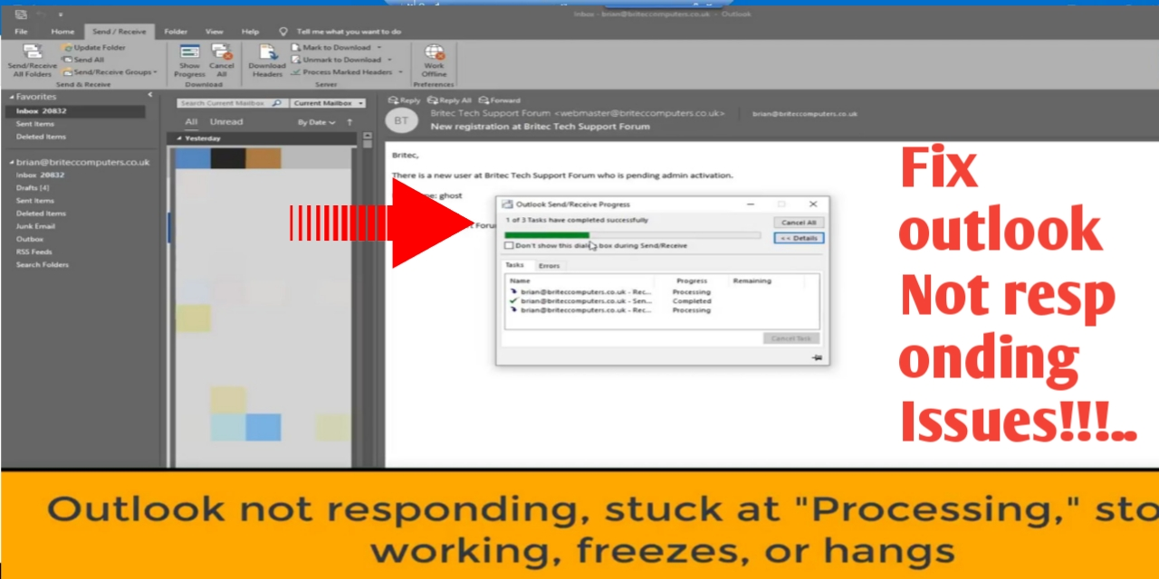 Fix outlook not responding issues, stuck at processing