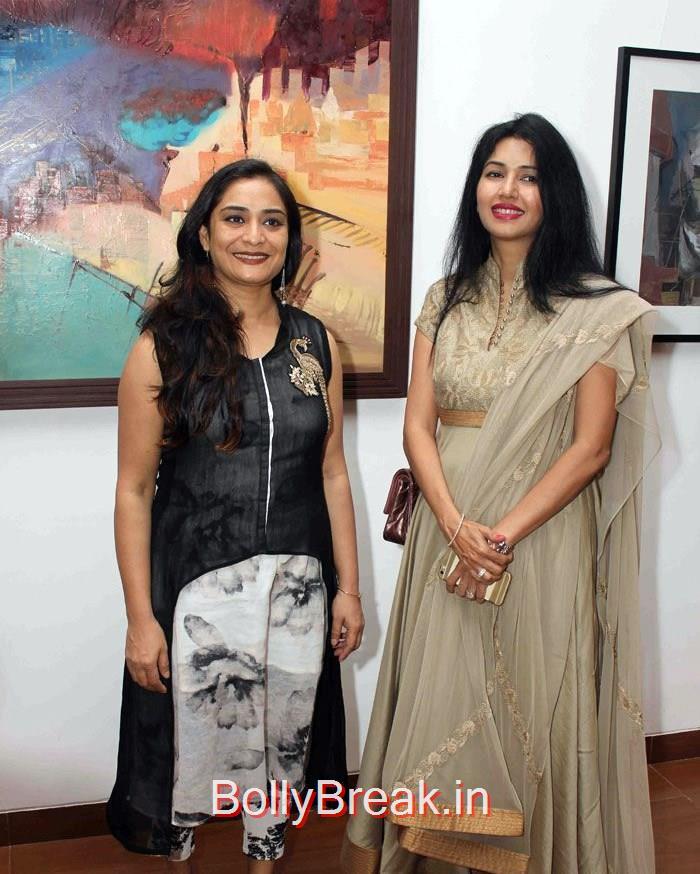 Pooja Batra & Deepti Bhatnagar at Rekha Rana's 'Benaras to Bombay' Art Collection Show, Actress Pooja Batra & Deepti Bhatnagar Latest 2015 hot Pics in Saree