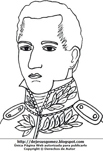 Dibujo de José María Córdova para colorear pintar imprimir. Imagen de José María Córdova hecha por Jesus Gómez