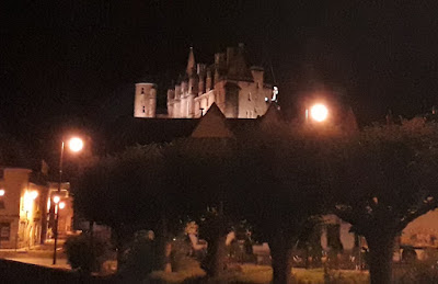 Looking up to the illuminated Royal Lodgings at Loches in the night
