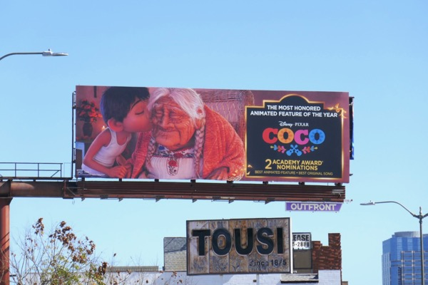 Coco Oscar nominee billboard