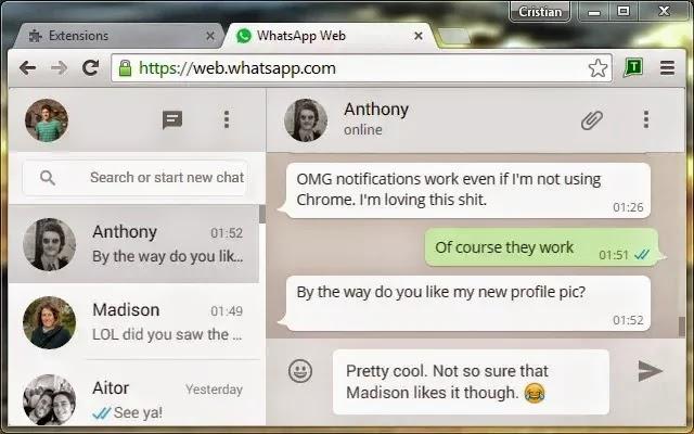 اضافة للحصول على اشعارات ورسائل WhatsApp على سطح المكتب