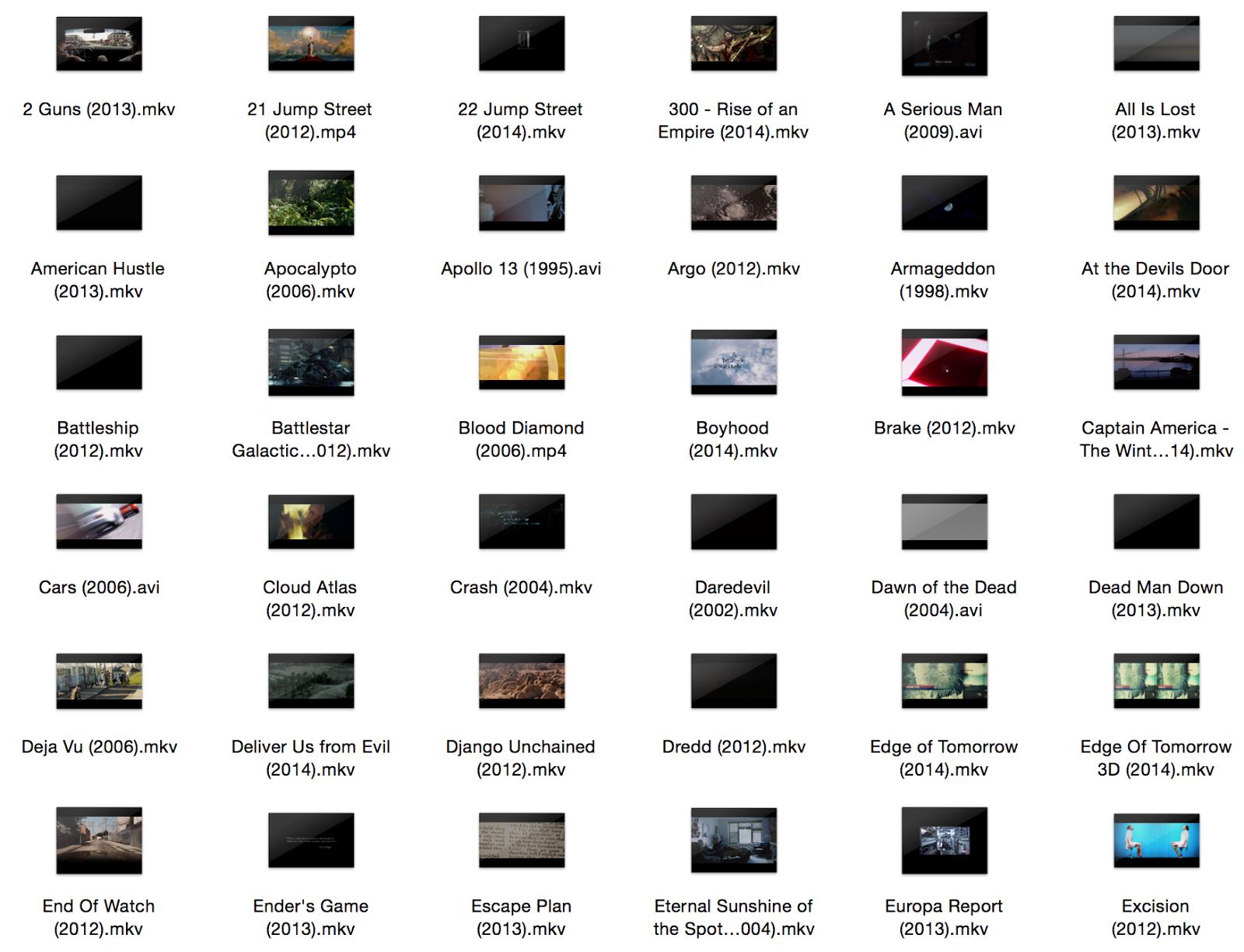 Get video thumbnails in OS X Finder for AVI, MKV, etc