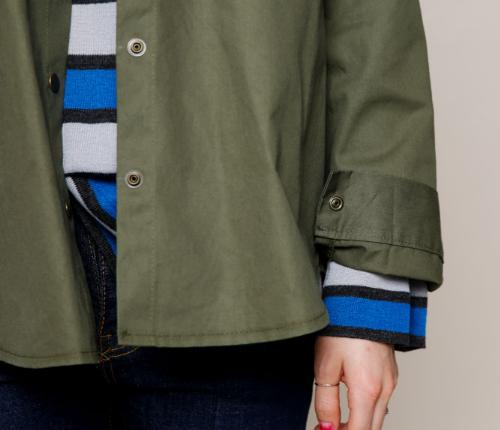 Snap Button Asymmetric Field Shirt