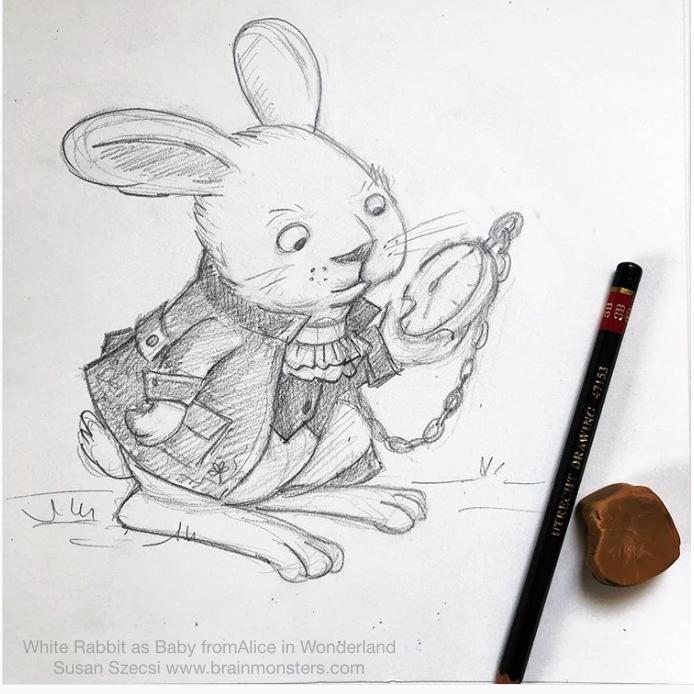 Klinarts Baby White Rabbit Pencil Sketch