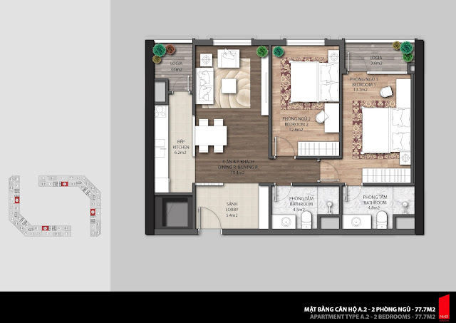Thiết kế căn hộ A.2 diện tích 77.7m2 chung cư The Emerald