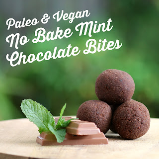 Grain Free No Bake Mint Chocolate Bites Recipe - low fat, gluten free, vegan, paleo, clean eating recipe, sugar free