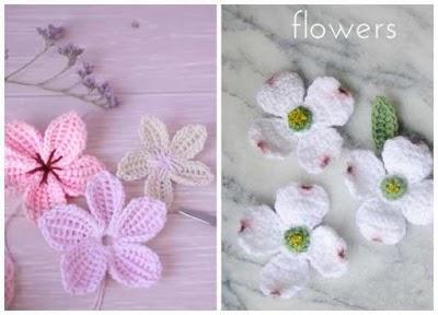 Flores de cornejo y sakuras tutoriales de crochet