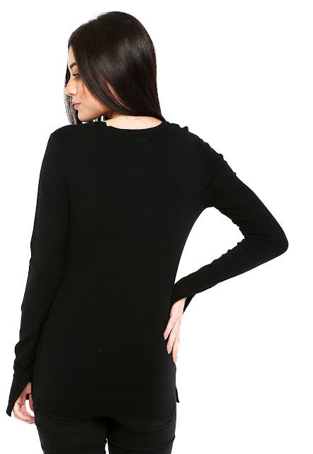 Moda Suéter Calvin Klein Jeans Gola V Preto
