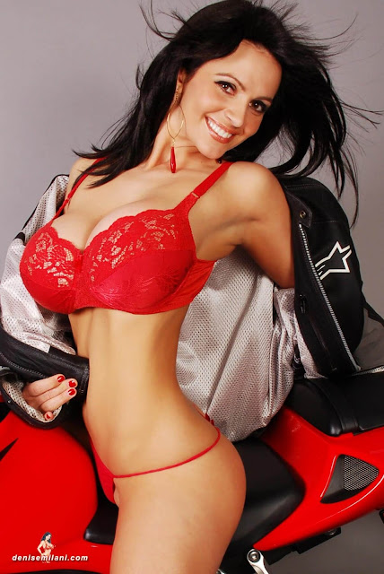Denise-Milani-Bike-Photoshoot-in-red-hot-bikini-picture-6