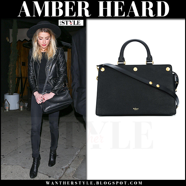 Amber Heard with black leather Mulberry Chester bag what she wore