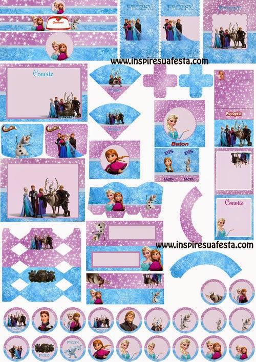 Kit de Frozen en Lila y Celeste, para Imprimir Gratis.