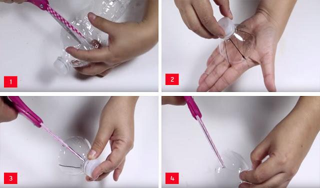 Membuat Bunga dari Botol Bekas