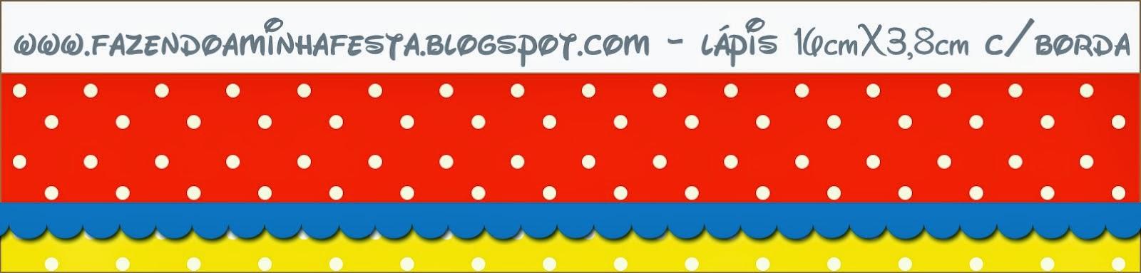Etiquetas para Imprimir Gratis de Rojo, Amarillo y Lunares Blancos.