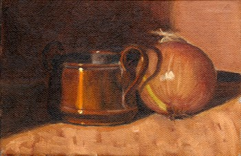 Oil painting of a small copper pot with one of the pot handles casting a shadow on an onion.