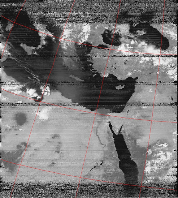 Improved contrast of NOAA 19 APT image. Received using RTL dongle, SDR# and WXtoImg.