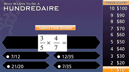 Who wants to be a hundredaire? game with multiplication of fractions