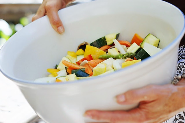 Bowl of Mixed Vegetables Prepared for Roasting Image