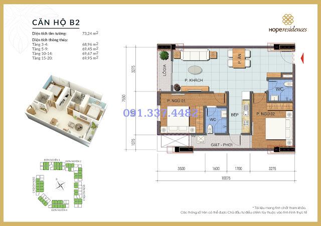 Mặt bằng thiết kế tòa Đơn Nguyên 3 Hope Residences Phúc Đồng