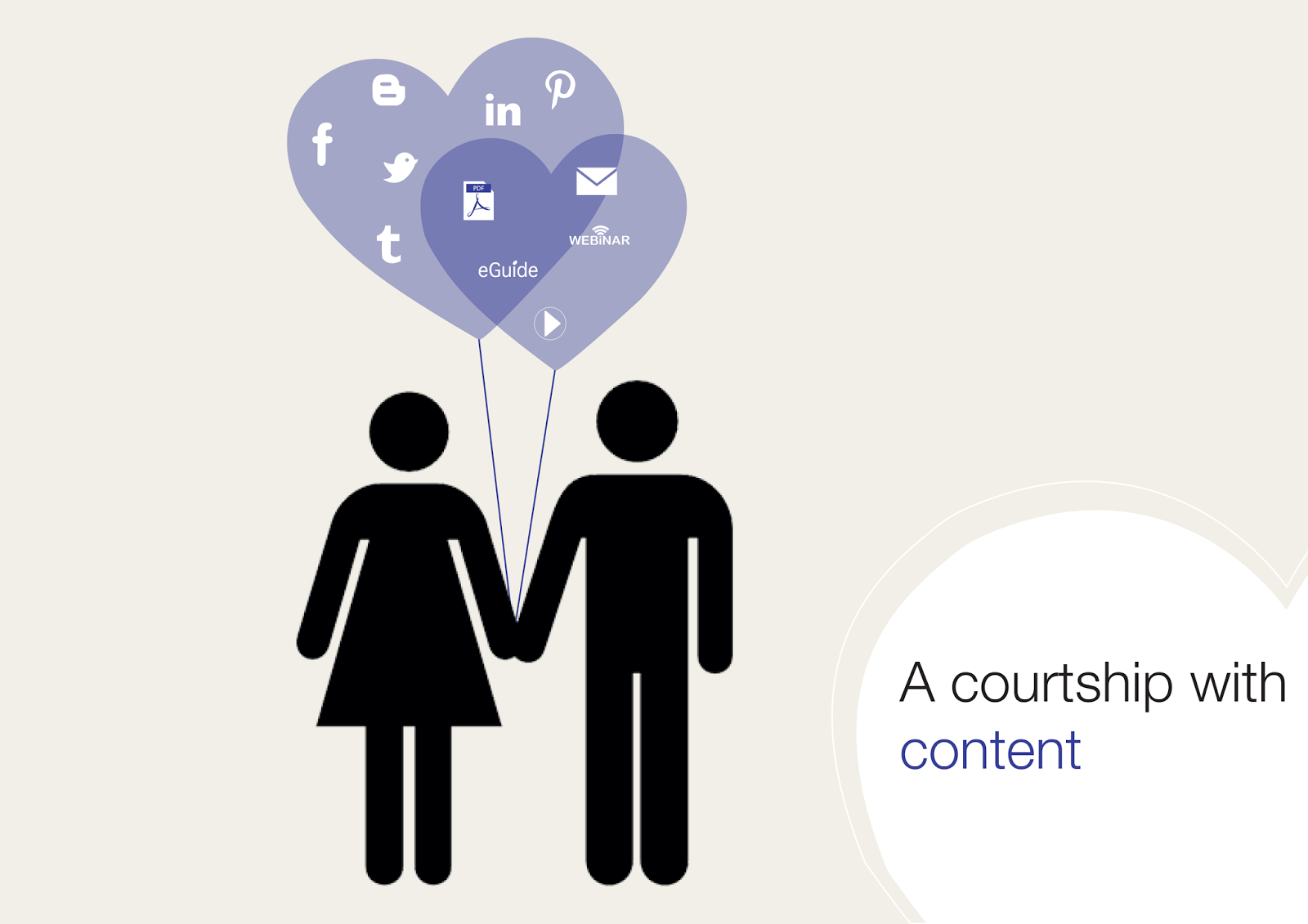 Girl and boy hold a balloon with social media icons as well as pdf, e-guide, webinar