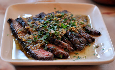 Flat-Iron Steak from Niman Ranch with Roasted Jalapeno Chimichurri - Photo by Taste As You Go