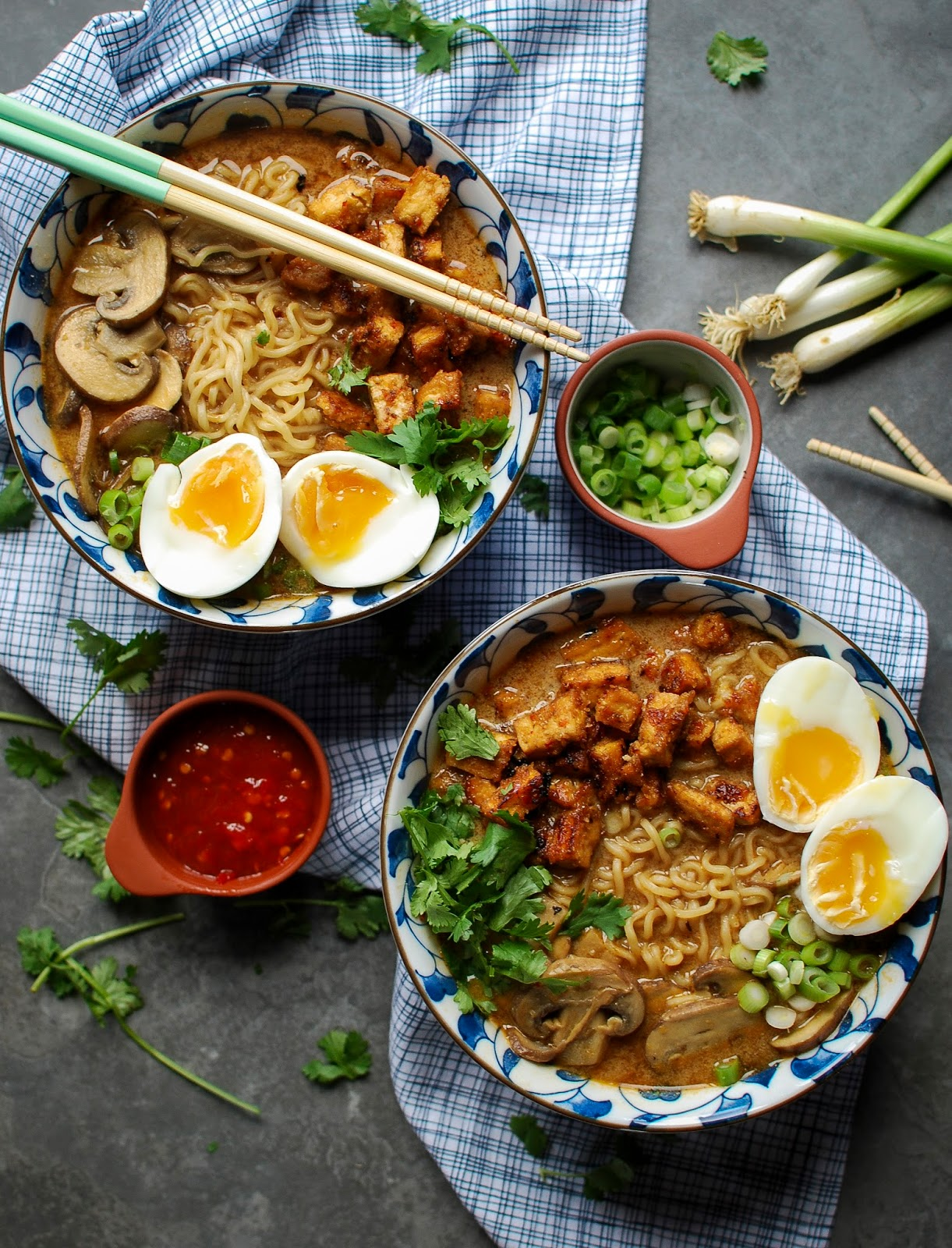 Crispy tofu pieces in a deliciously spiced broth topped off with a soft boiled egg. What's not to love?!