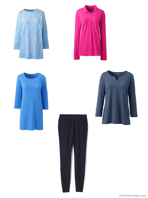 a wardrobe capsule of leggings with tunics
