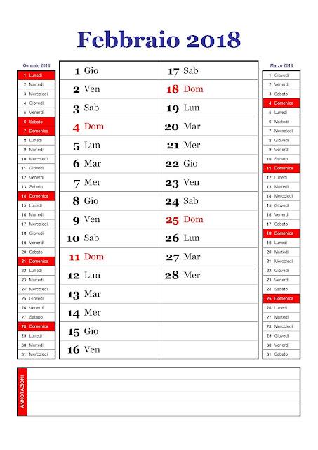calendario mensile febbraio 2018