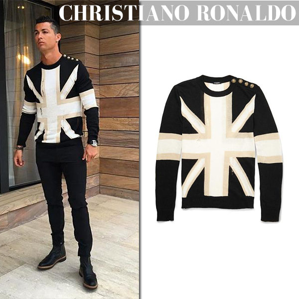 Christiano Ronaldo in Union Jack Balmain sweater