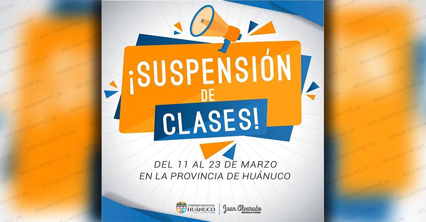 DRE Huánuco suspende clases escolares ante confirmación de dos pacientes con Coronavirus