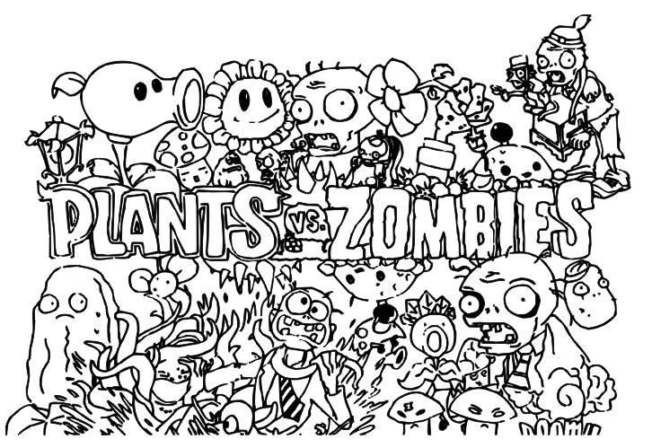Plantas Contra Zombies Para Pintar Dibujos De Plantas Vs