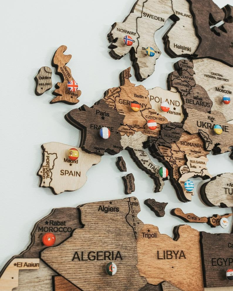 WORLD WALL MAP[Wood Handmade]
