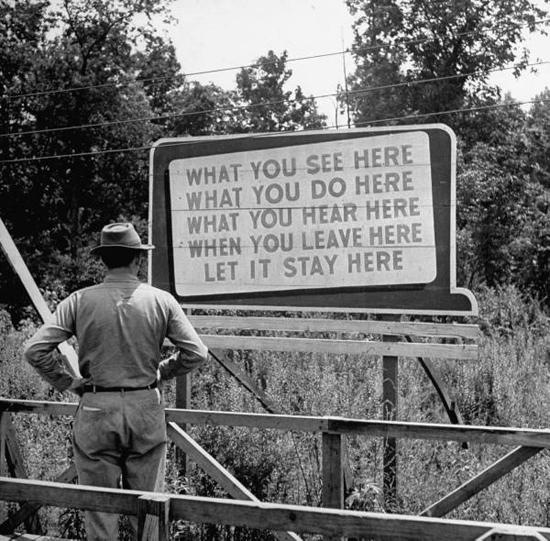 Manhattan Project warning sign