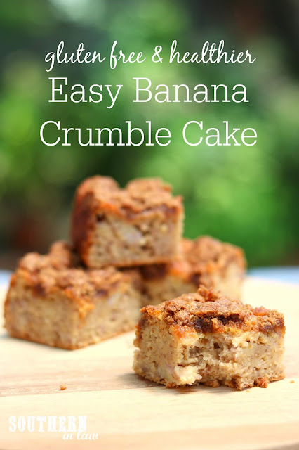 Easy Gluten Free Banana Crumble Cake Recipe - gluten free, nut free, clean eating friendly, low fat, banana coffee cake recipe
