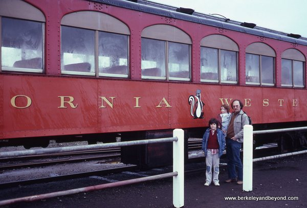 family gets ready to board Skunk Train in Fort Bragg, California